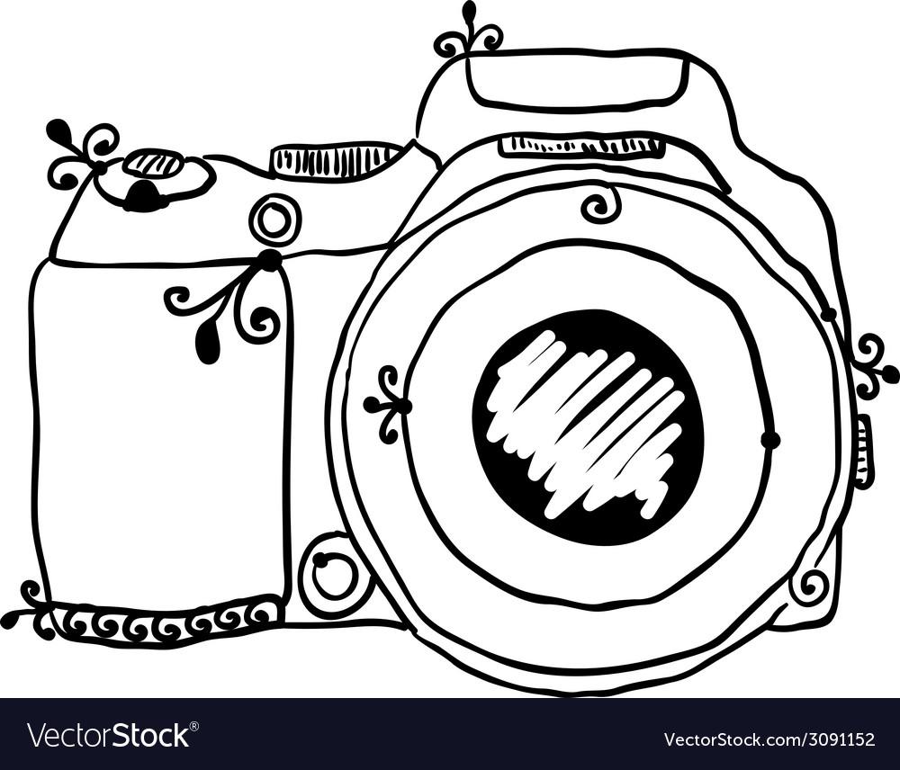Sketch a photo camera drawn hand
