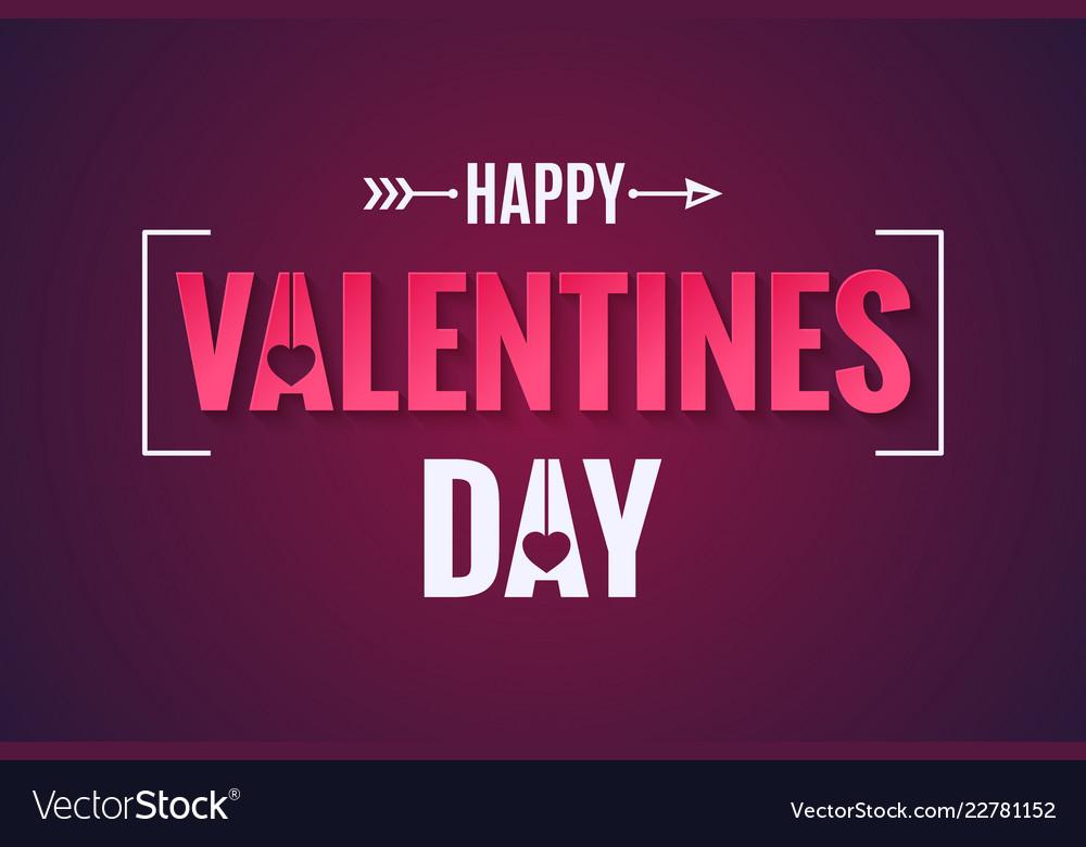 Valentines day banner on dark red background