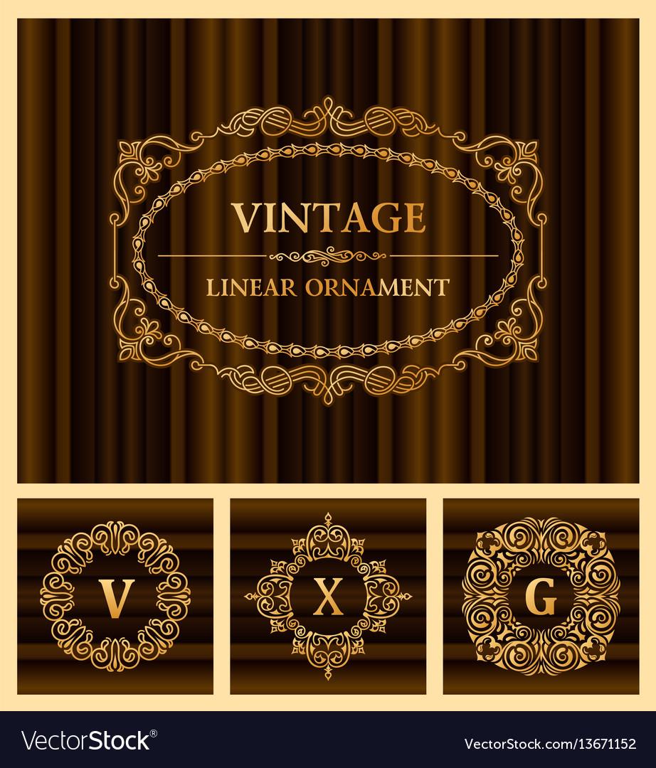 Vintage set retro cards template greeting card