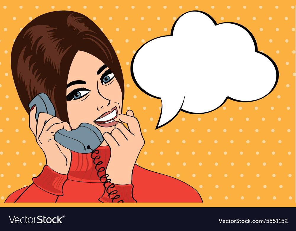 Woman chatting on the phone pop art