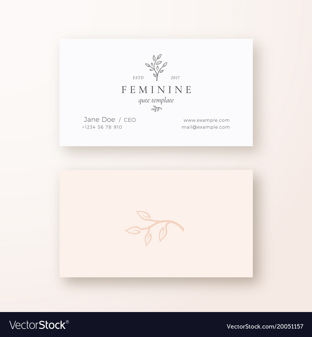 Abstract feminine leaf branch sign or logo vector image