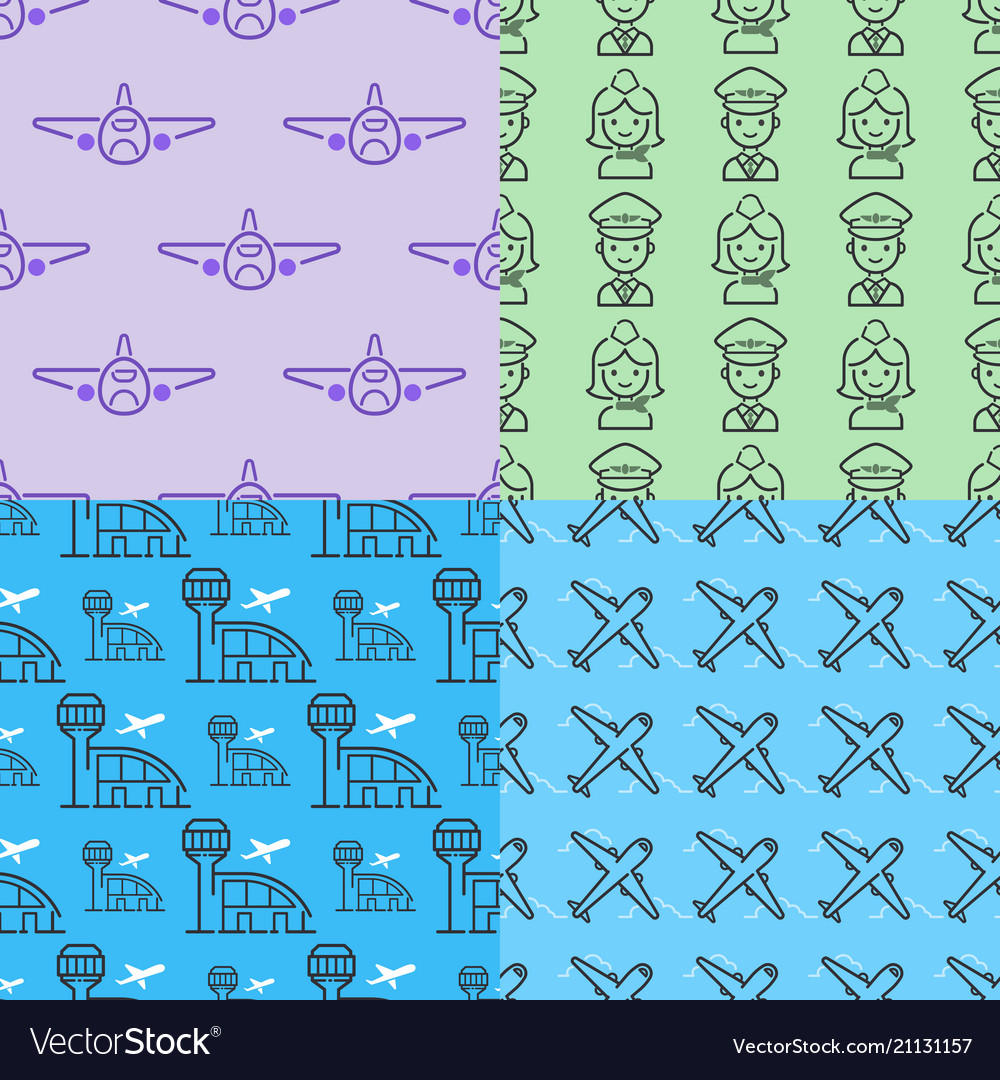 Aviation icons airline outline graphic