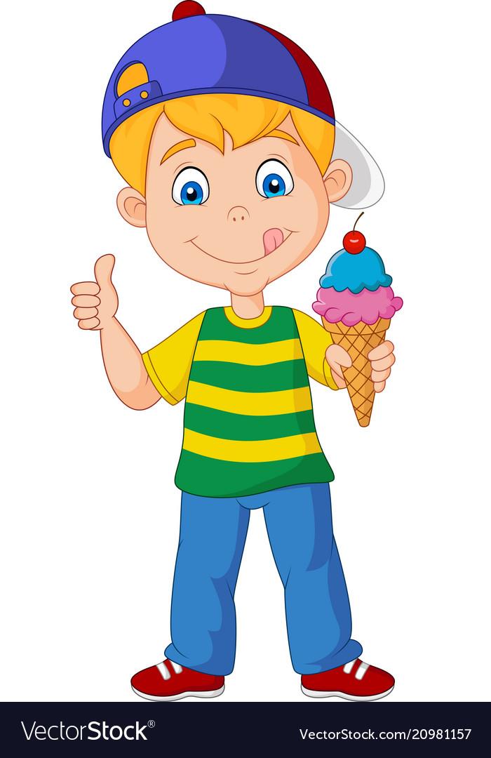 Cartoon boy holding an ice cream