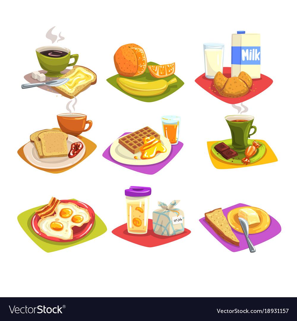 Classic breakfast ideas set cartoon