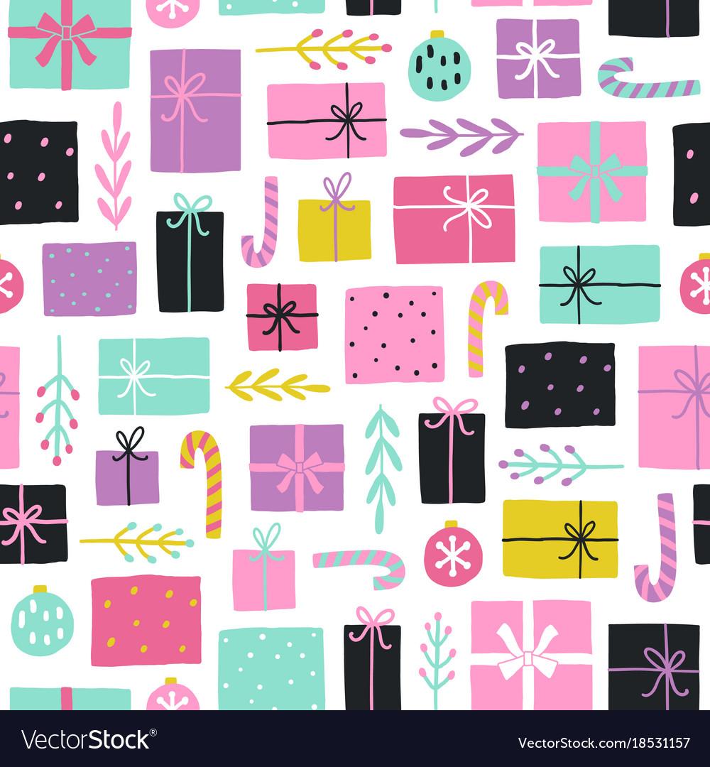 Cute christmas gifts seamless pattern