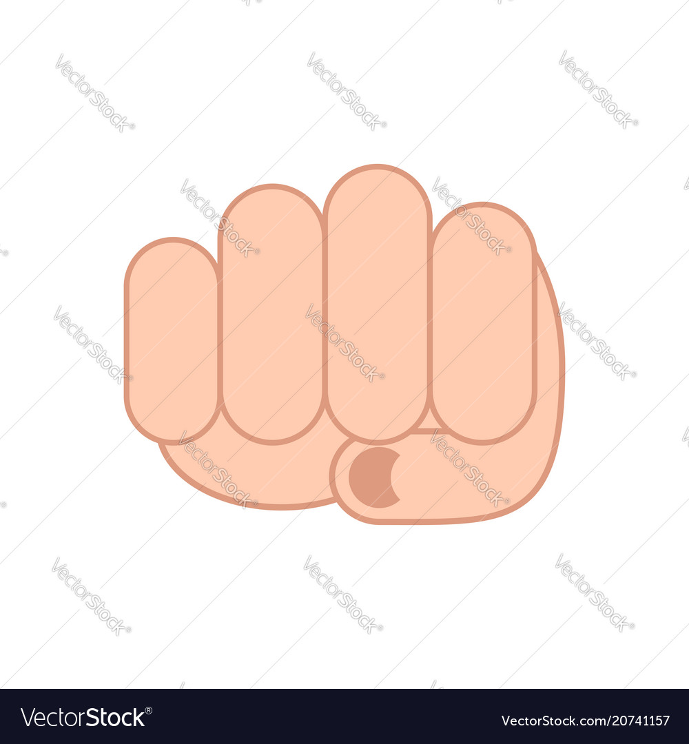 Fist isolated punch mans hand on white background
