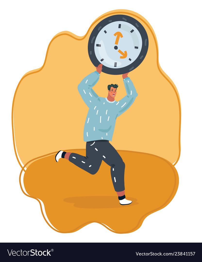 Man holding big digital clock and running