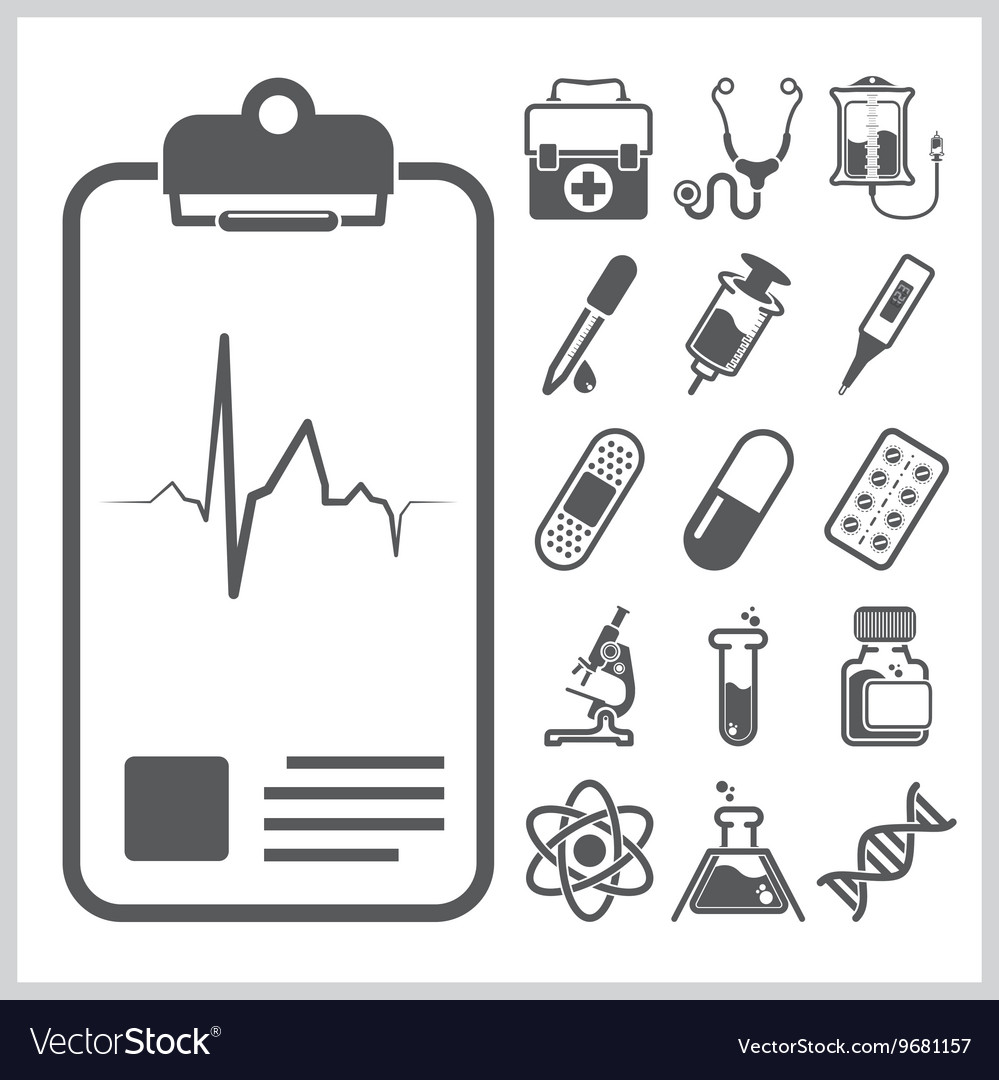 Medical and healthcare sign symbol icon set