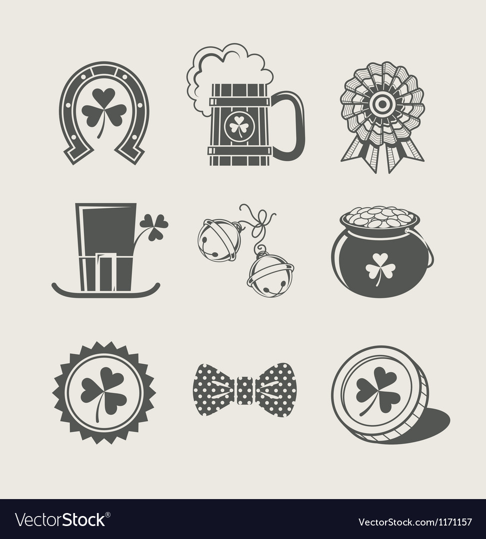 Patricks day set of icons vector image