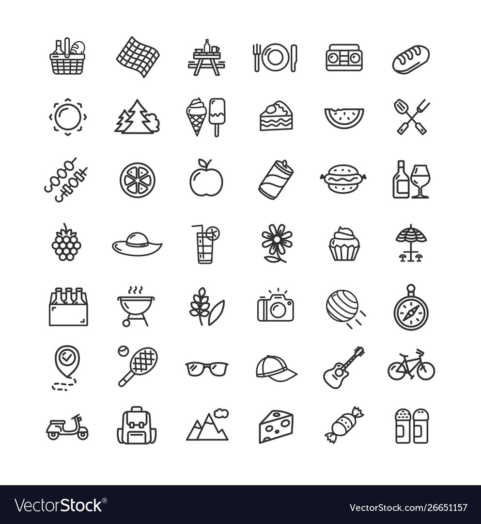 Picnic black thin line icon set