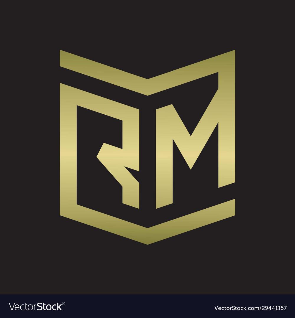 rm logo emblem monogram with shield style design vector image vectorstock