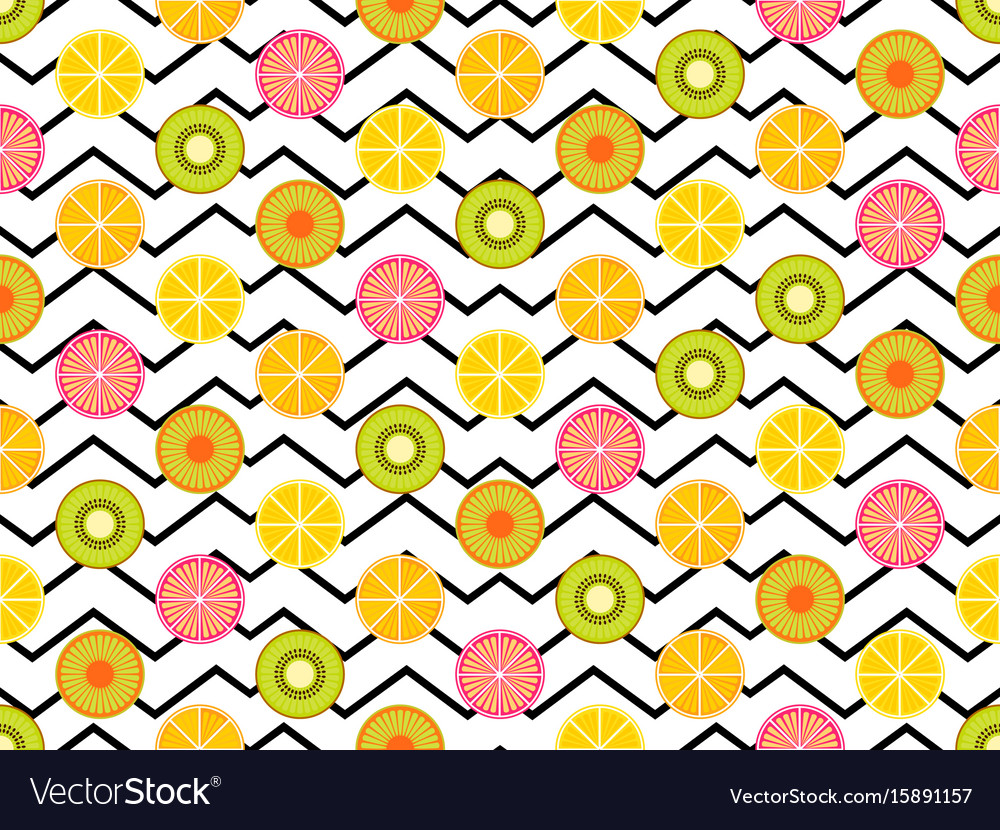 Seamless pattern with oranges kiwi and lemon vector image