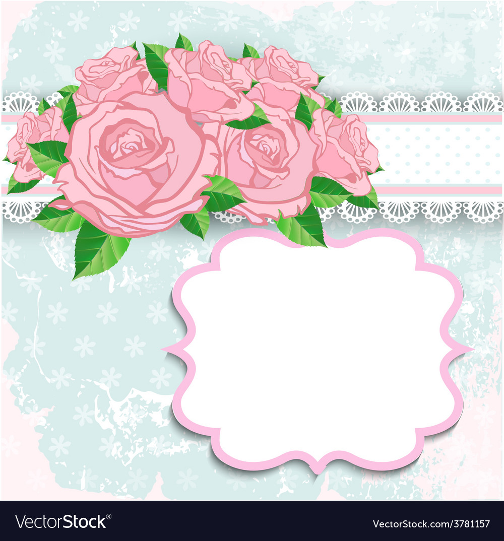 Vintage background with pink roses