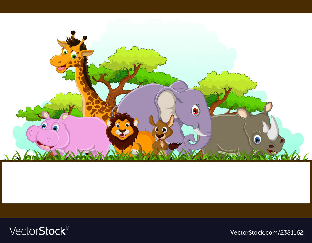 Animal cartoon with blank sign and tropical forest
