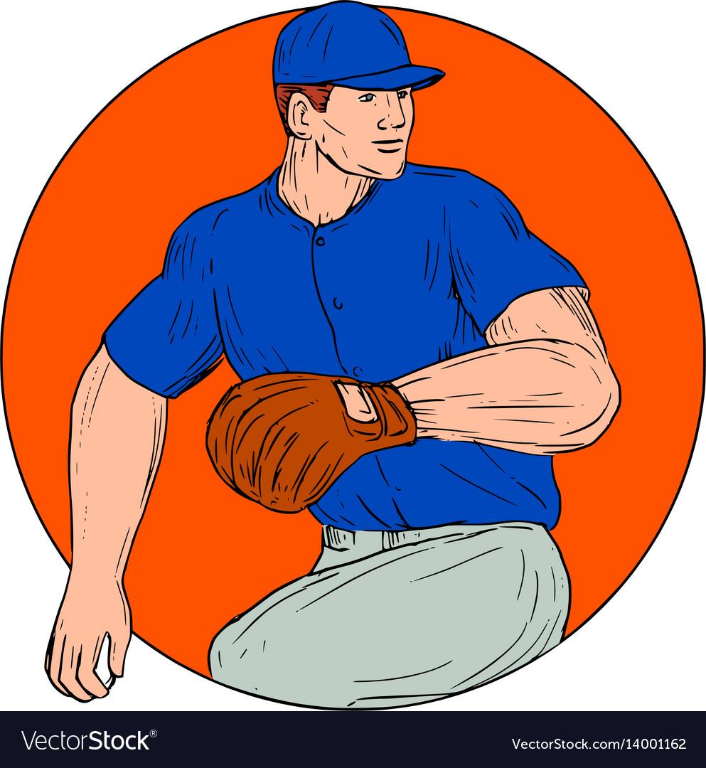 Baseball pitcher ready to throw ball circle