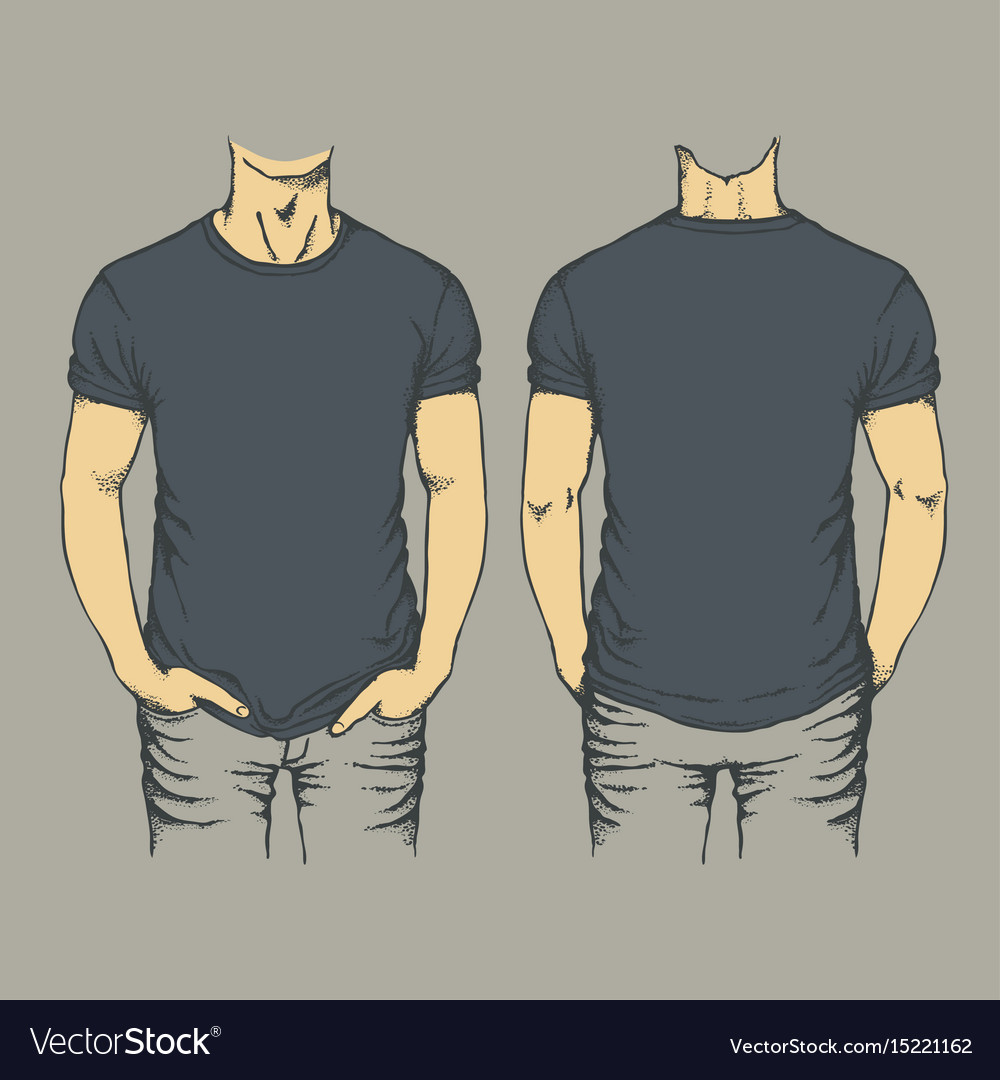 Black T Shirt Template Royalty Free Vector Image