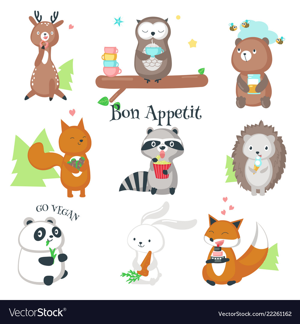 Cute wild animals eating food icon set