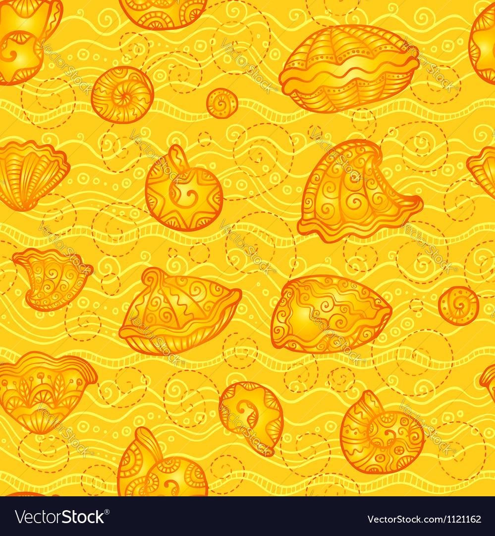 Doodle seashells orange pattern