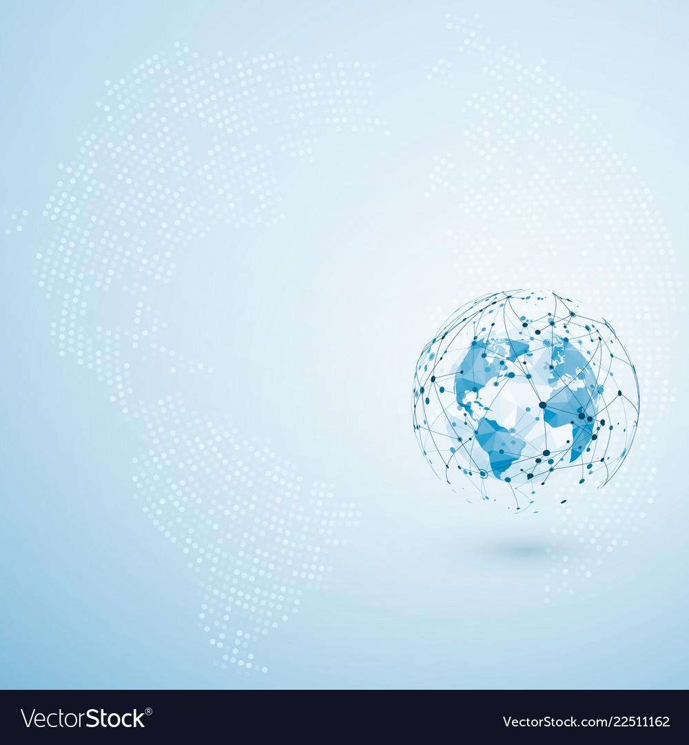 Global network connection polygonal world map dot