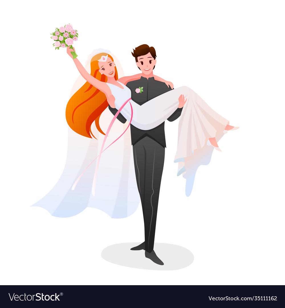 Groom holds bride in his hands happy couple