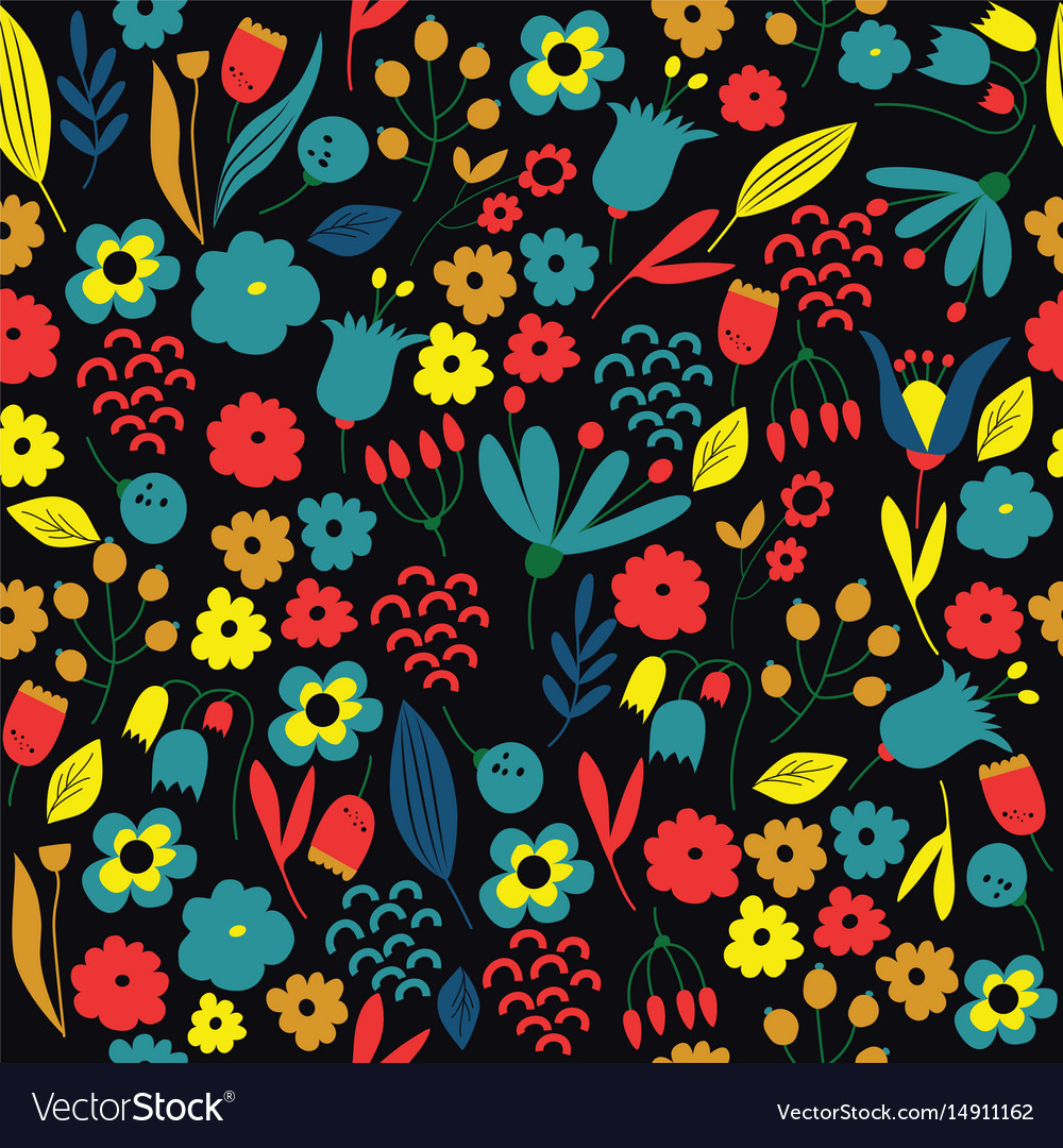 Hand drawn floral pattern colorful