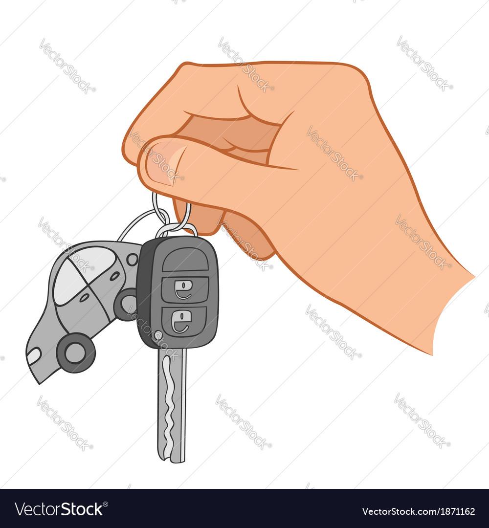 Hand holding car keys