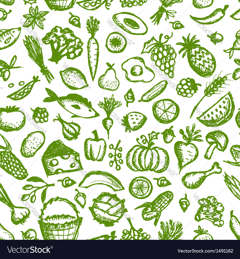 Healthy Food Seamless Pattern Sketch For Your Vector Image