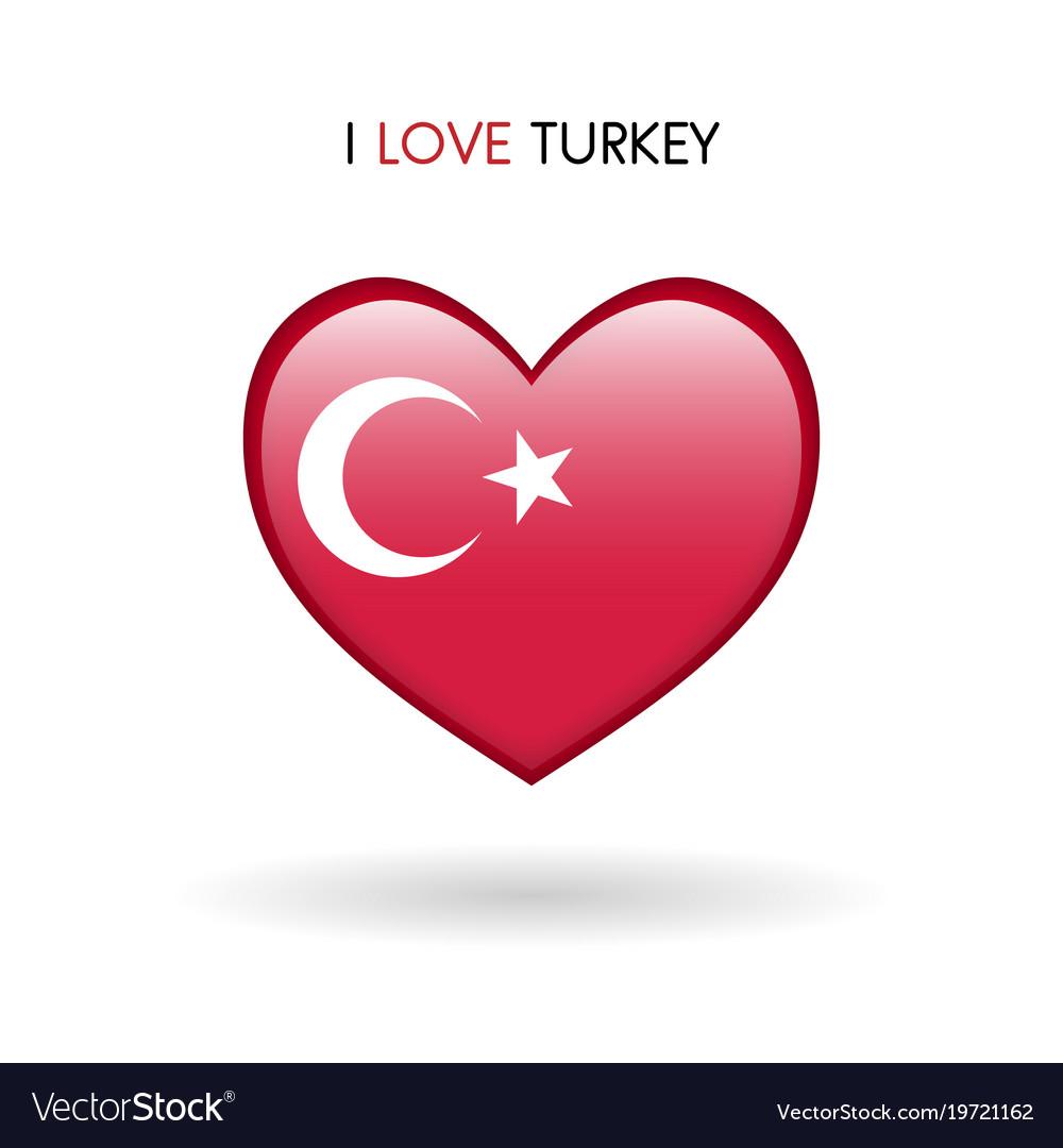 Love turkey symbol flag heart glossy icon on a