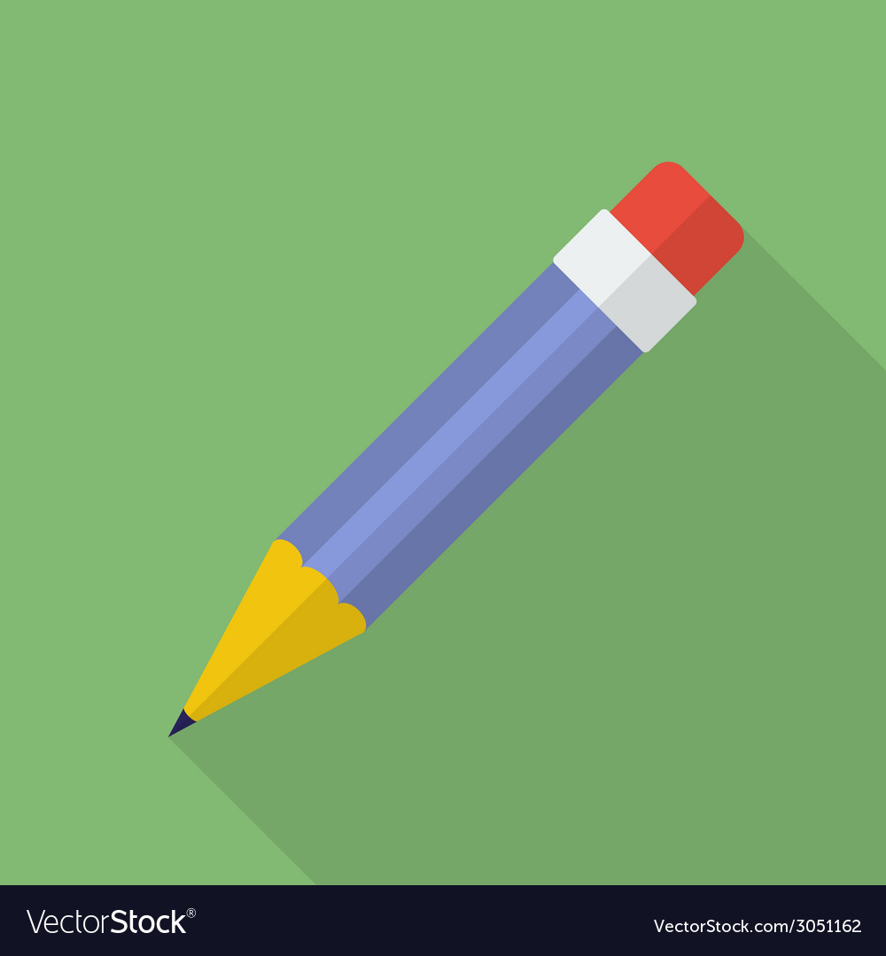 Pencil icon Modern Flat style with a long shadow