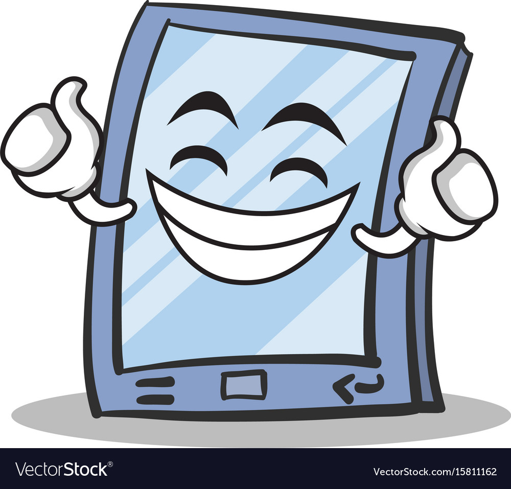 Proud face tablet character cartoon style vector image
