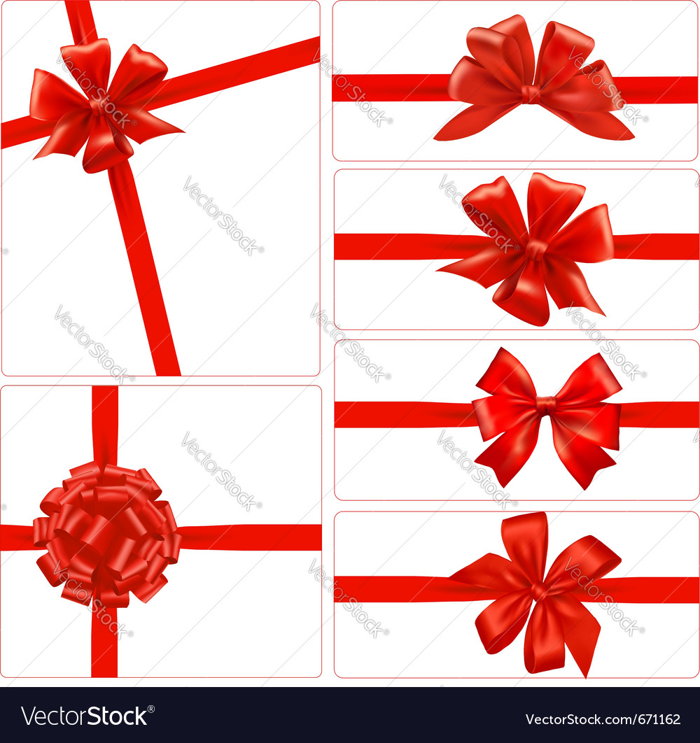 Set of red gift bows with ribbons royalty free vector image set of red gift bows with ribbons vector image negle Gallery