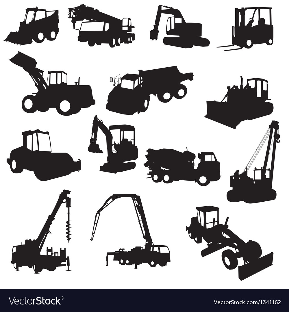 Silhouette of construction machines vector image