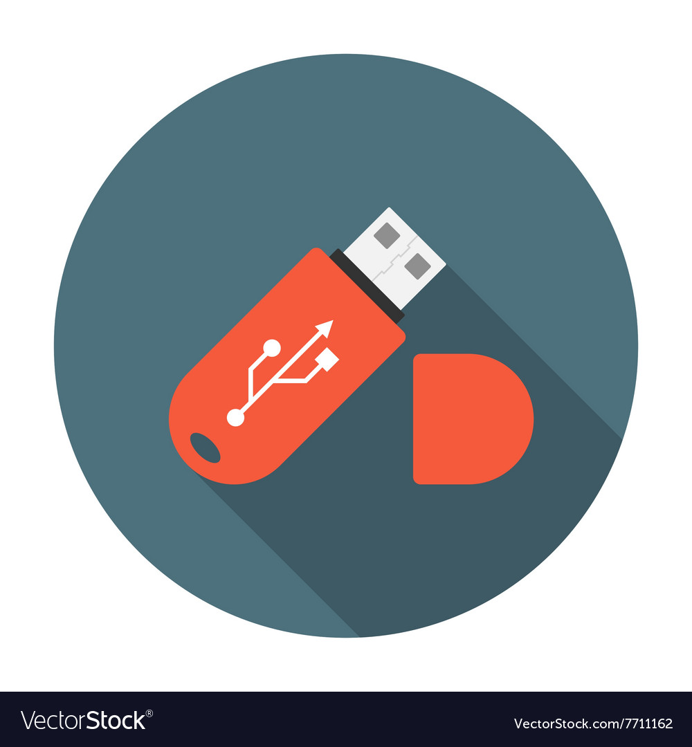 USB flash drive flat icon vector image