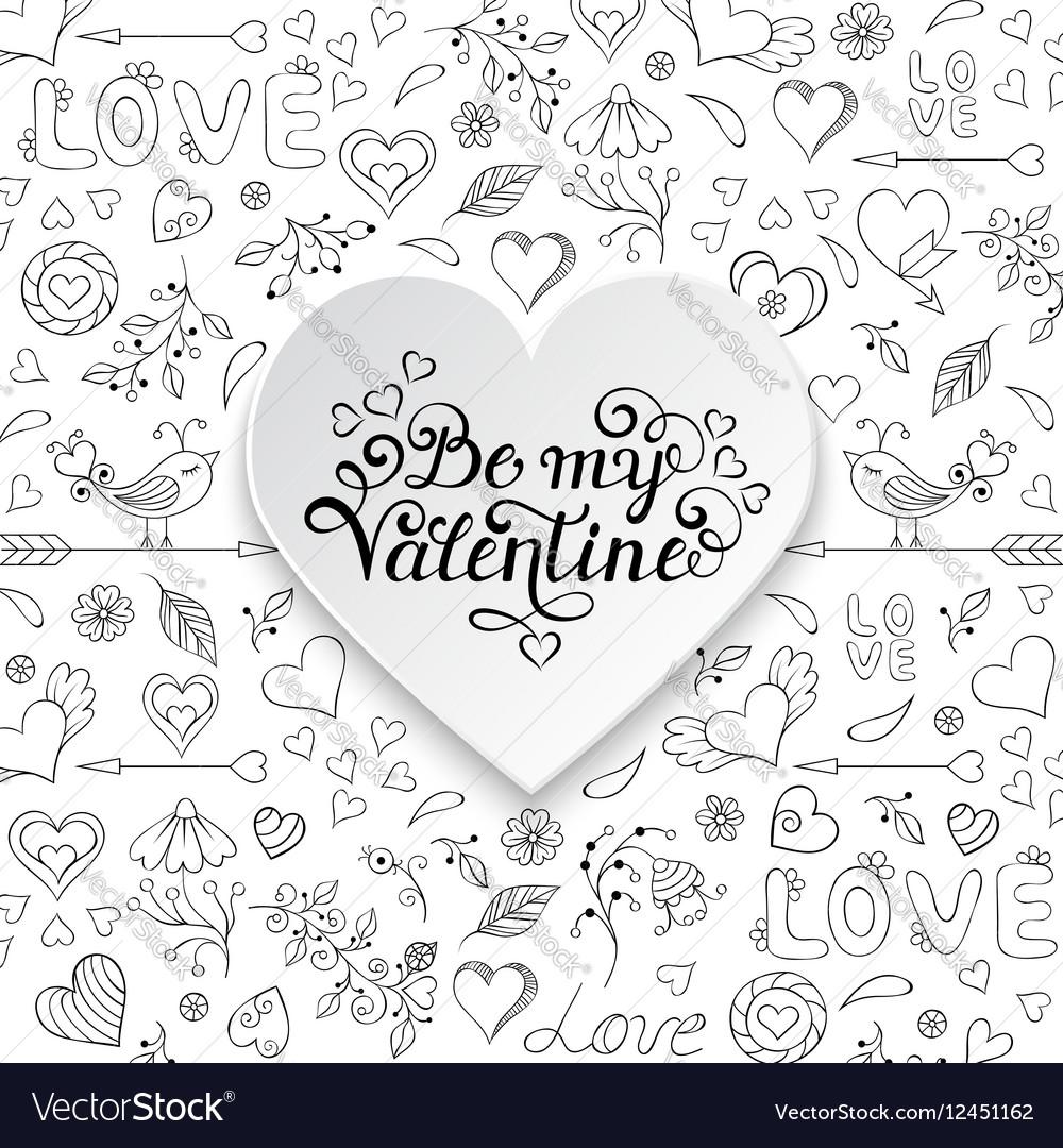 Valentines card with heartsbirdsflowers vector image