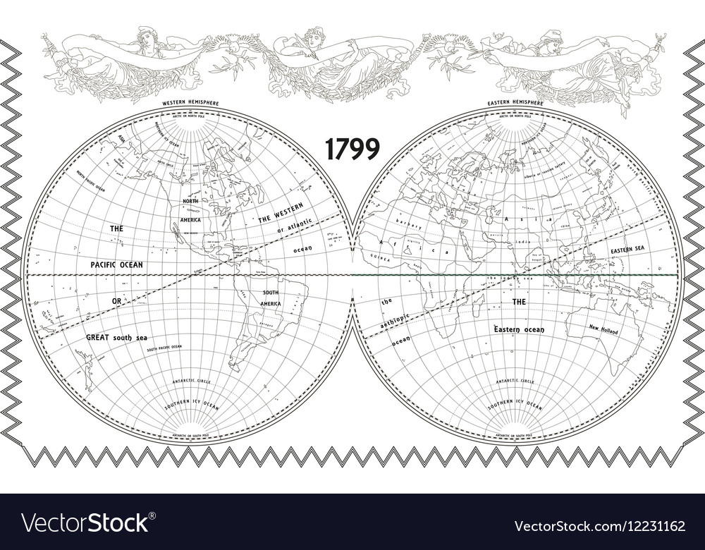 World globe map with nymphs white