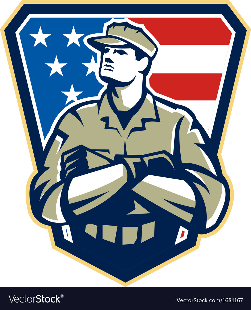 American Soldier Arms Folded Flag Retro vector image