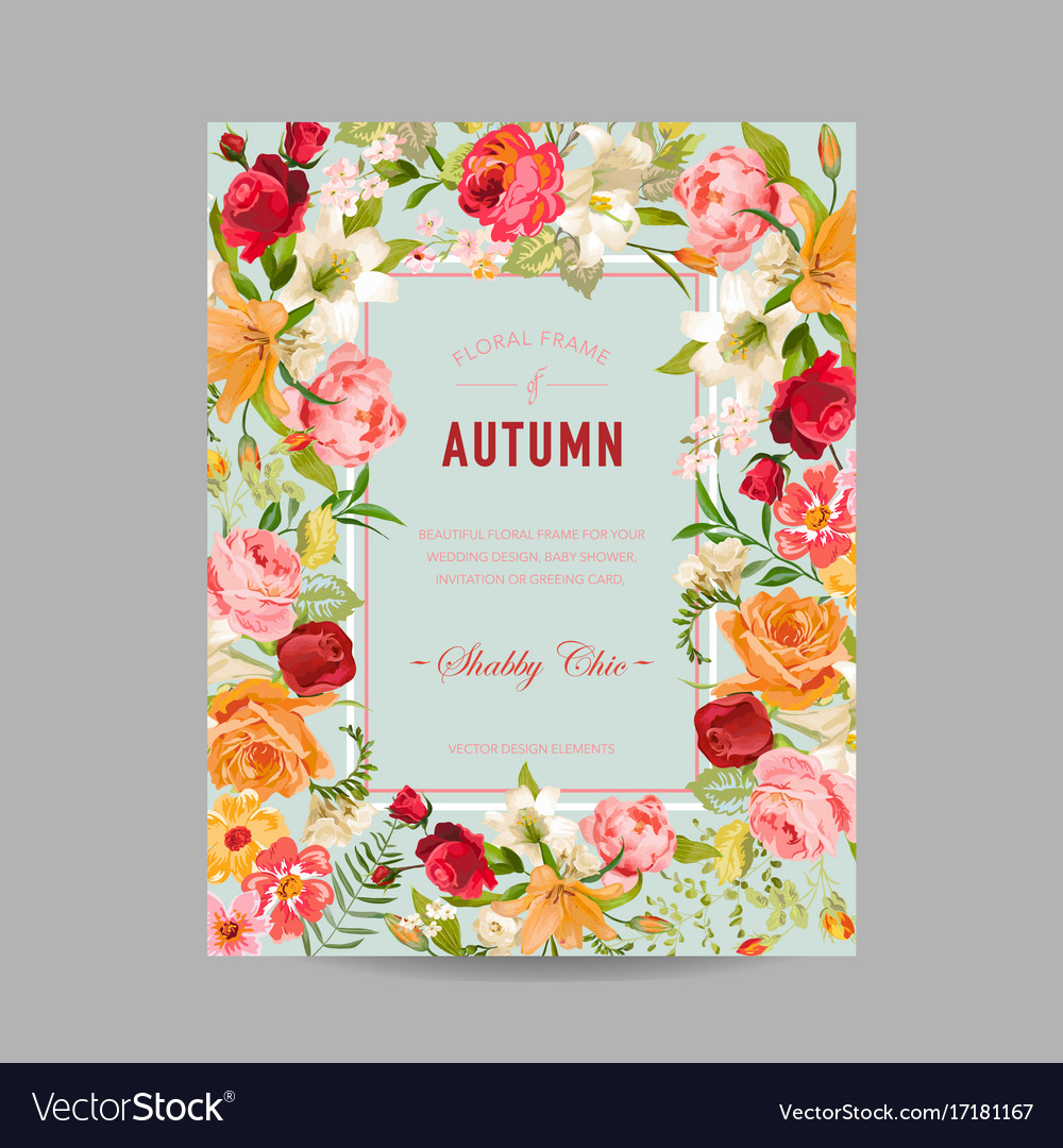 Autumn photo frame with orchid and lily flowers