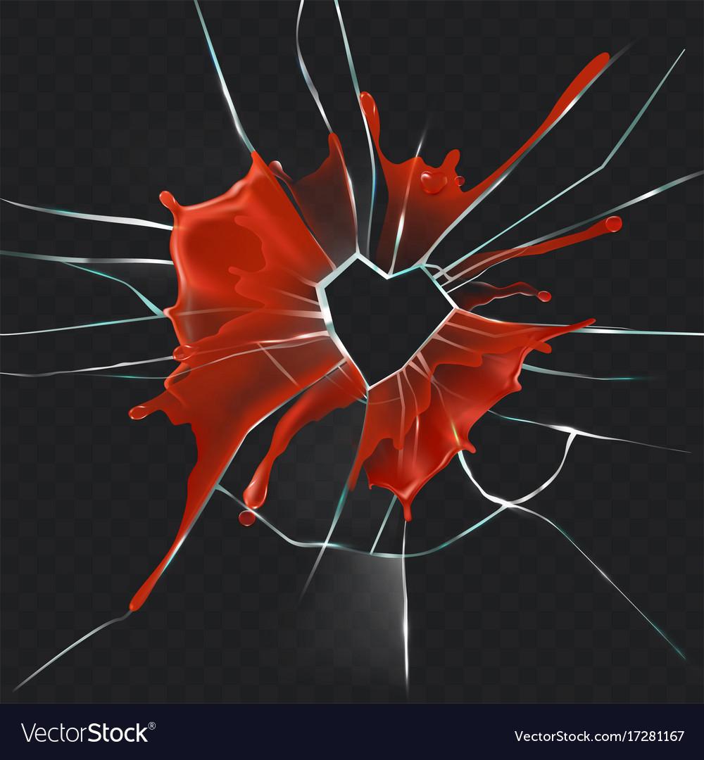 Broken glass heart bloody realistic concept