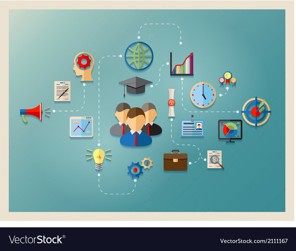 Education and management in web vector image