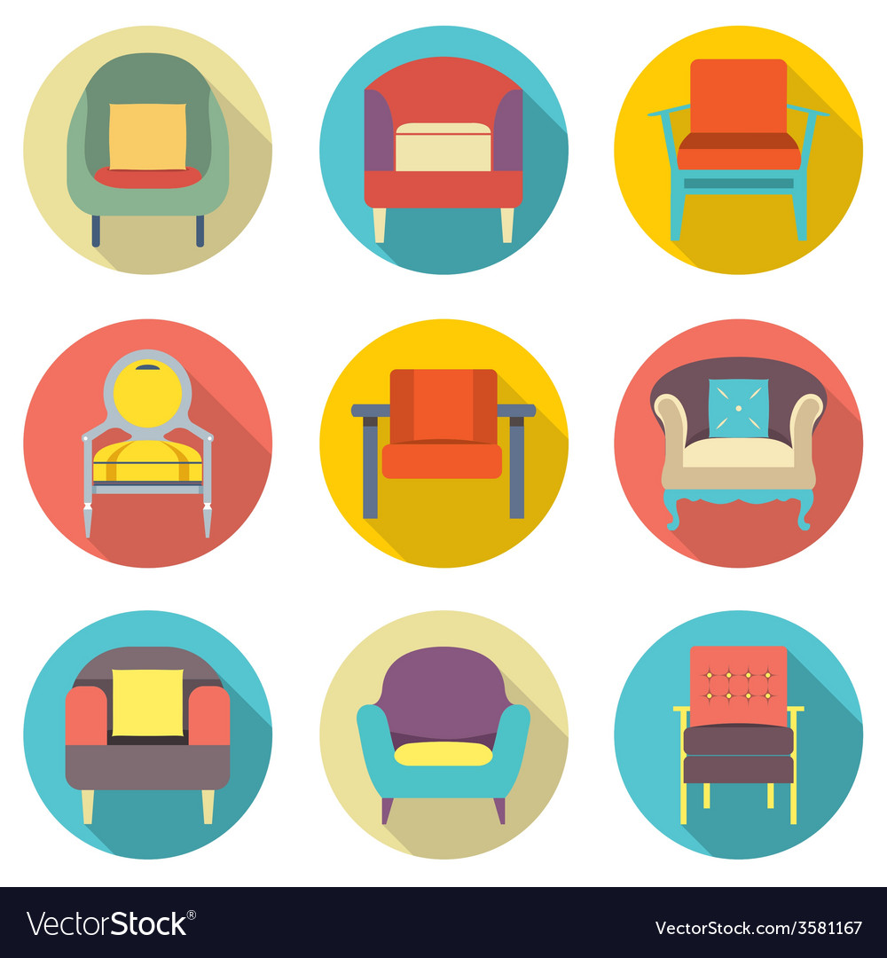 Flat Design Long Shadow Effect Sofa Icons Set