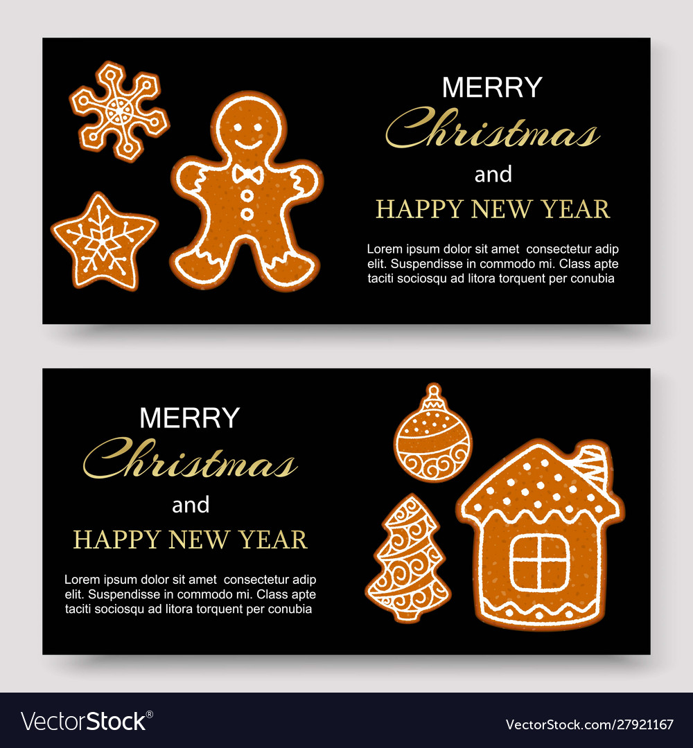 Gingerbread merry christmas banners and card