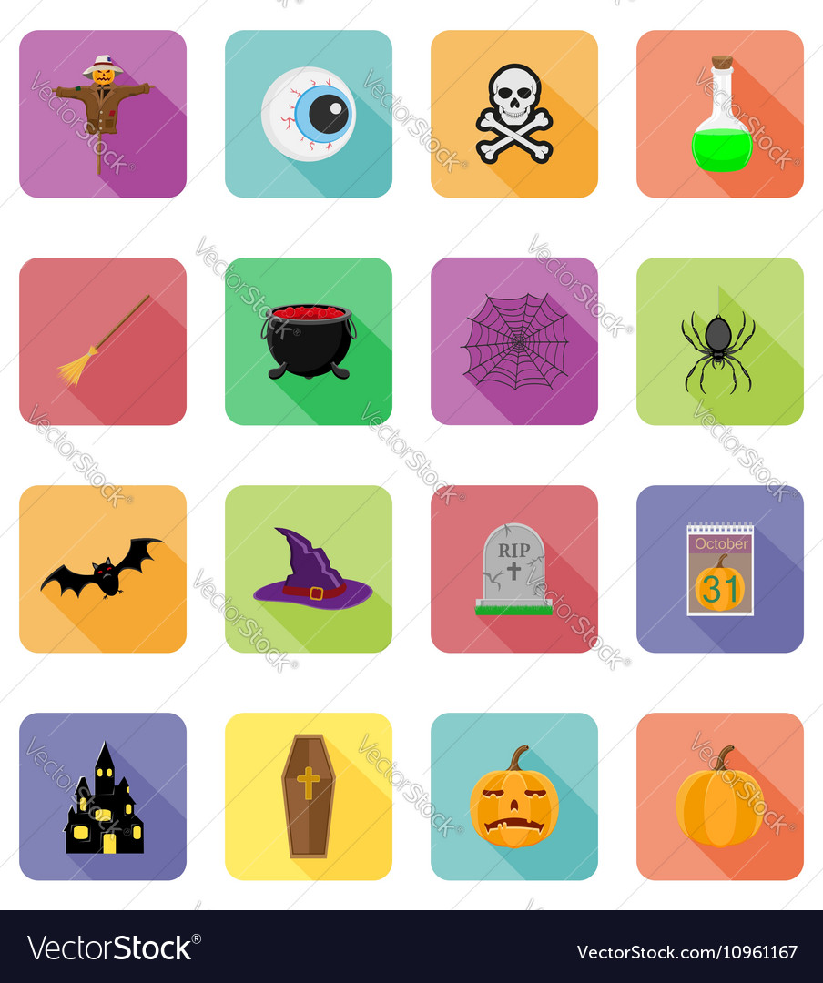 Halloween flat icons 20 vector image