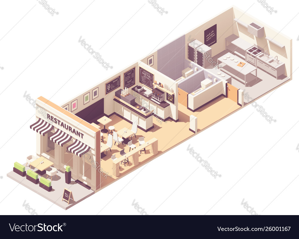 Isometric restaurant interior cross-section