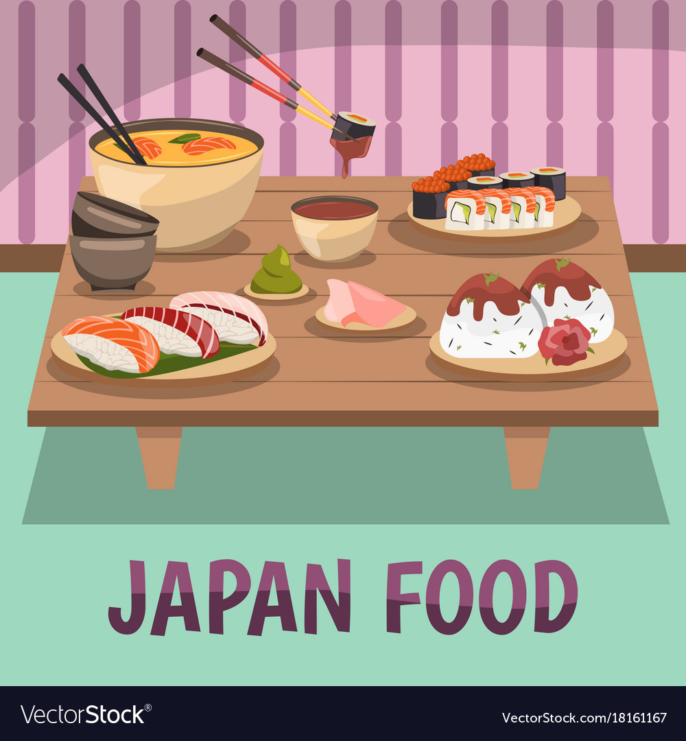 Japan food composition bckground poster vector image