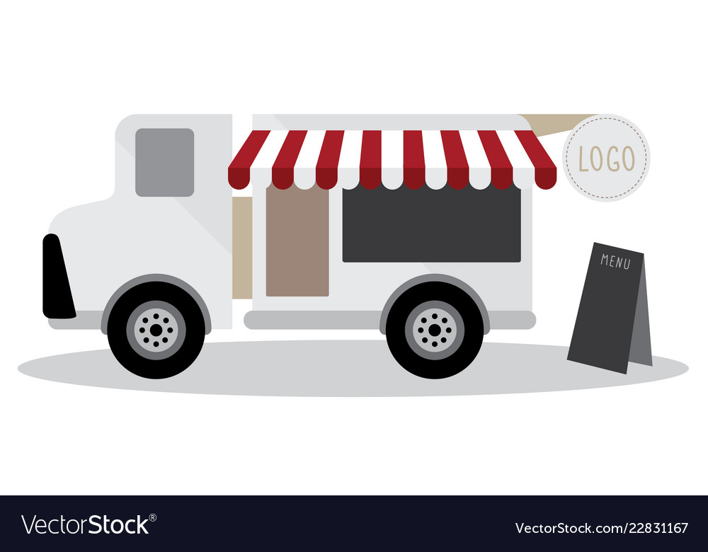 Model of food truck and have blackboard for