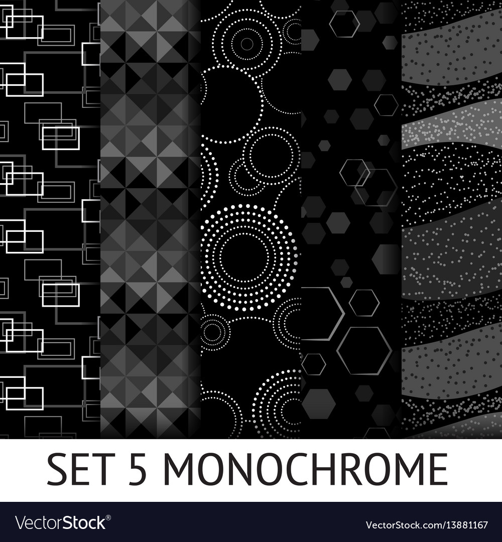 Set of 5 different monochrome seamless pattern