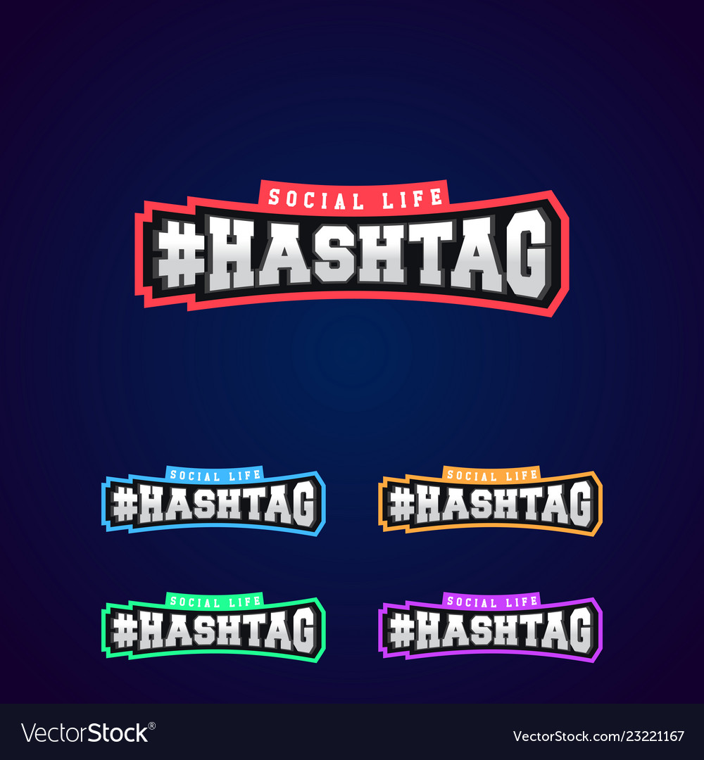 Set of the hashtag power full typography 3d