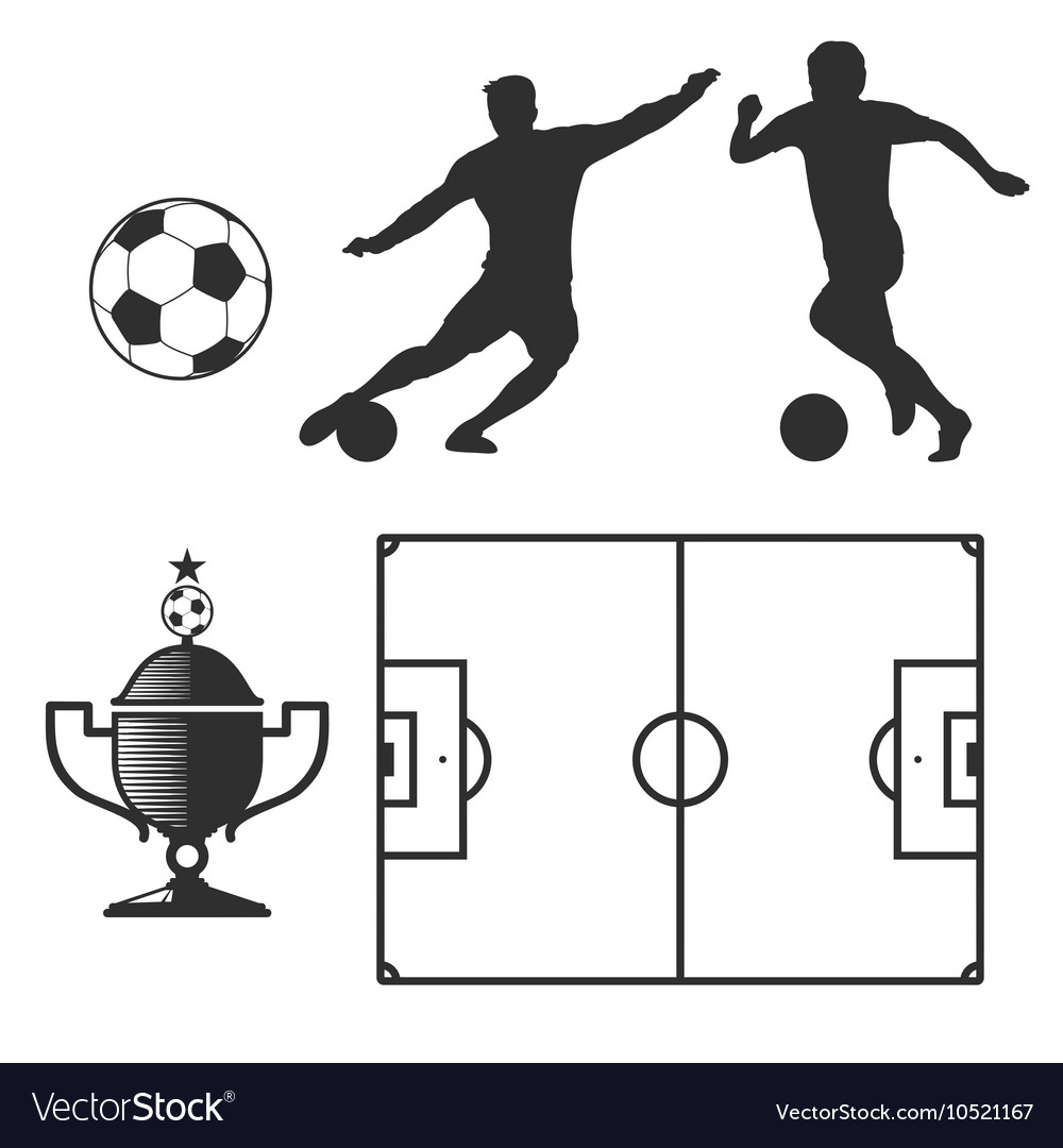 Soccer design elements in black isolated white