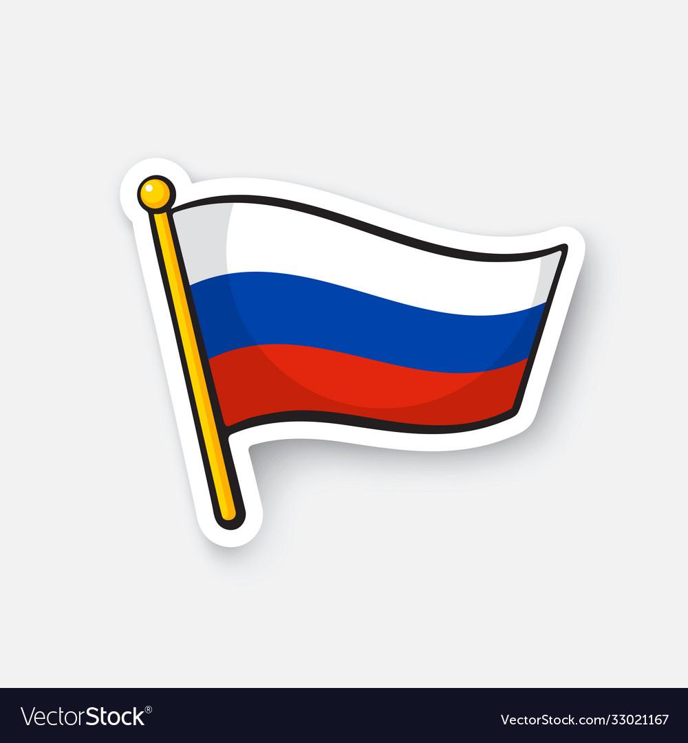 Sticker flag russia on flagstaff