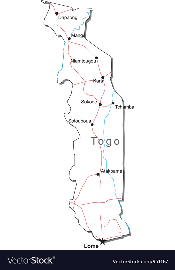 Togo Black White Map